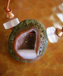 Geode Cave Leather Necklace