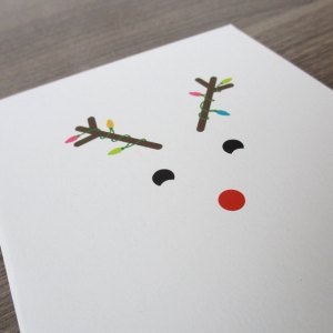 reindeer light Christmas card