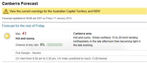 Canberra Australia Heatwave 17th January 2014