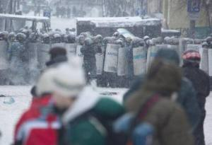Pro-Russian Ukrainian Government shooting unarmed citizens Kyiv Ukraine January 2014