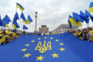 Ukraine Tryzub EU Flag Kyiv Protests