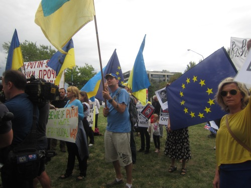Pro-Ukrainian Anti-Russian invasion protest Canberra Australia 5th March 2014 2