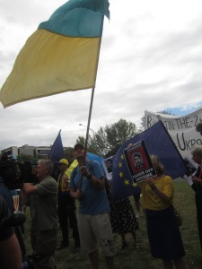 Pro-Ukrainian Anti-Russian invasion protest Canberra Australia 5th March 2014