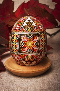 Ornamental Easter egg made of real chicken egg.