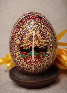 Painted Ukrainian Easter egg made of natural egg and coloured using wax and natural dyes.