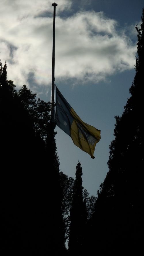 Australian Capital Territory flag at half-mast for Malaysia Airlines plane shot down by Russia. Canberra 19th July 2014 Sonya Heaney Oksana Heaney.