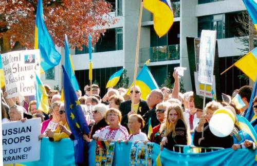 Here is a picture of us protesting at the Russian embassy in Canberra, Australia just after Russia invaded Crimea.