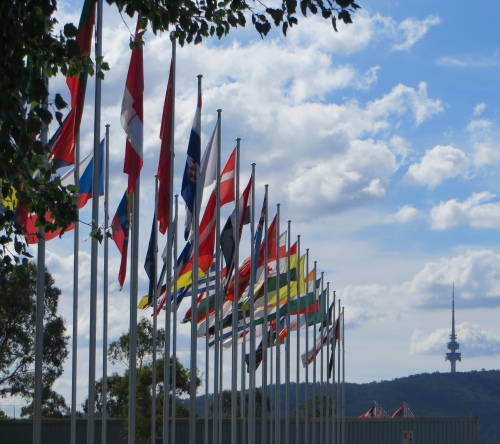 Flags and Black Mountain Tower Canberra Australia 27th December 2014 Sonya Heaney