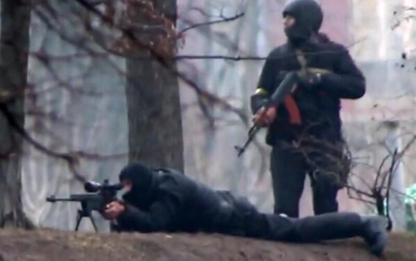 Pro-Russian snipers shooting Ukrainians in Kyiv, Ukraine. 20th February 2014.