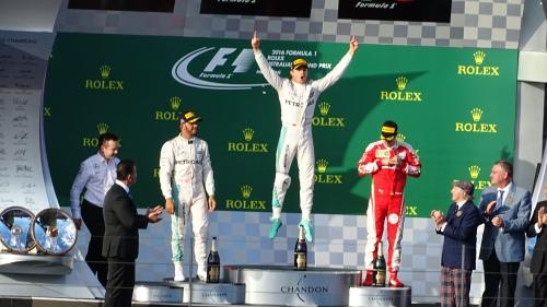 Formula One Race Podium Melbourne Australia Sonya Oksana Heaney 20th March 2016 Lewis Hamilton Nico Rosberg Sebastian Vettel F1