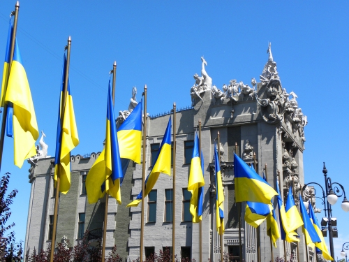 Ukrainian Flags Kyiv Ukraine 15th June 2011 Sonya Oksana Heaney.