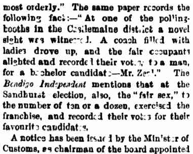 The Argus  , 5 November 1864, p 4. When women in Australia accidentally got the vote.