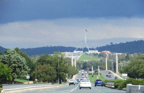 New Parliament House Canberra Australia Sky Clouds Autumn 30th March 2017