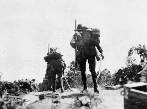Australian troops going into action across Plugge's Plateau after the landing on 25 April 1915. Anzac Day.