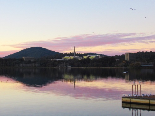 Canberra Australia Winter Evening Lake Burley Griffin Sonya Heaney 11th June 2017 National Carillon Reflection Nature SunsetIMG_2045