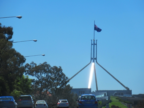 Flags across the country have been lowered to honour one of Australia's former governors-general, Sir Ninian Stephen, who died on October 29. Parliament House Canberra 8th November 2017