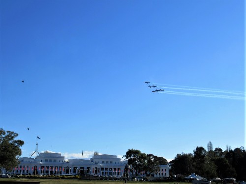 Air Force Roulettes of Old and New Parliament House Canberra Australia 30th Anniversary 6th October 2018 Sonya Heaney Blue Sky Spring Sunny Afternoon