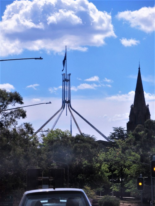 Canberra Australia Flag Half-Mast Parliament House Sonya Heaney 1st March 2019