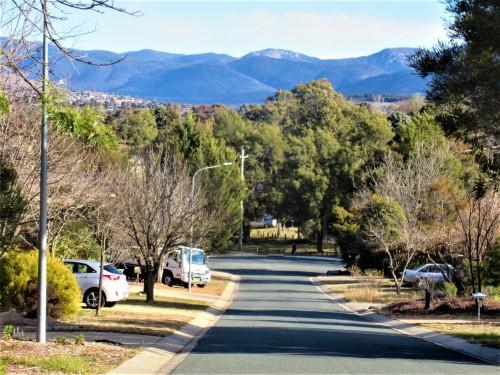 Walk to the shops Tuggernanong Valley Brindabella Range Canberra Australia Winter Sunshine Blue Sky Sonya Heaney 21st July 2019 Sunny Warm Afternoon