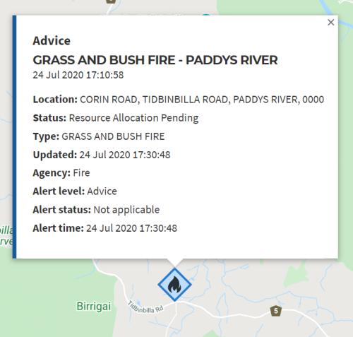 bushfire paddy's river Canberra Australia 24th July 20202